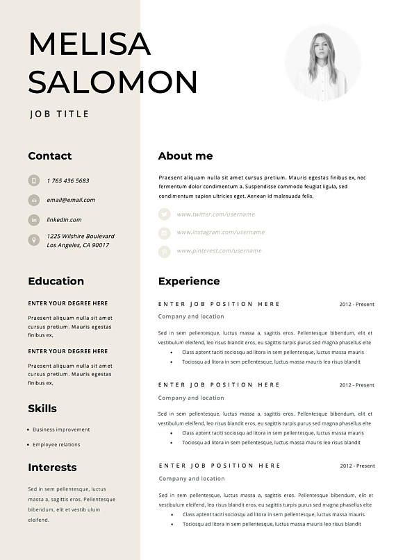 Professional resume template for word Modern resume template