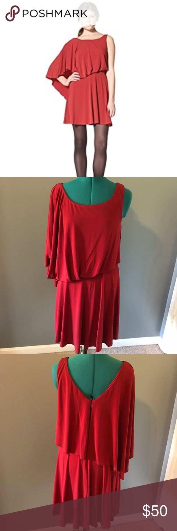 Jessica Simpson red sexy batwing party dress 10 New with tag! Jessica Simpson asymmetrical batwing dress in tomato red. Cute blouson style. Zips in back. Jessica Simpson Dresses