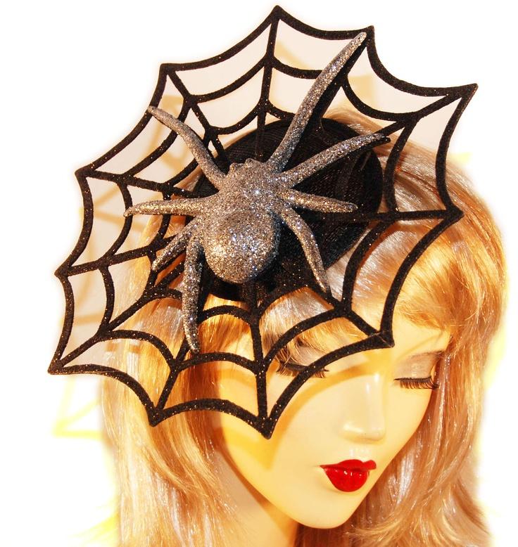 Halloween Fascinator Hat - Black Halloween Spiderweb Fascinator