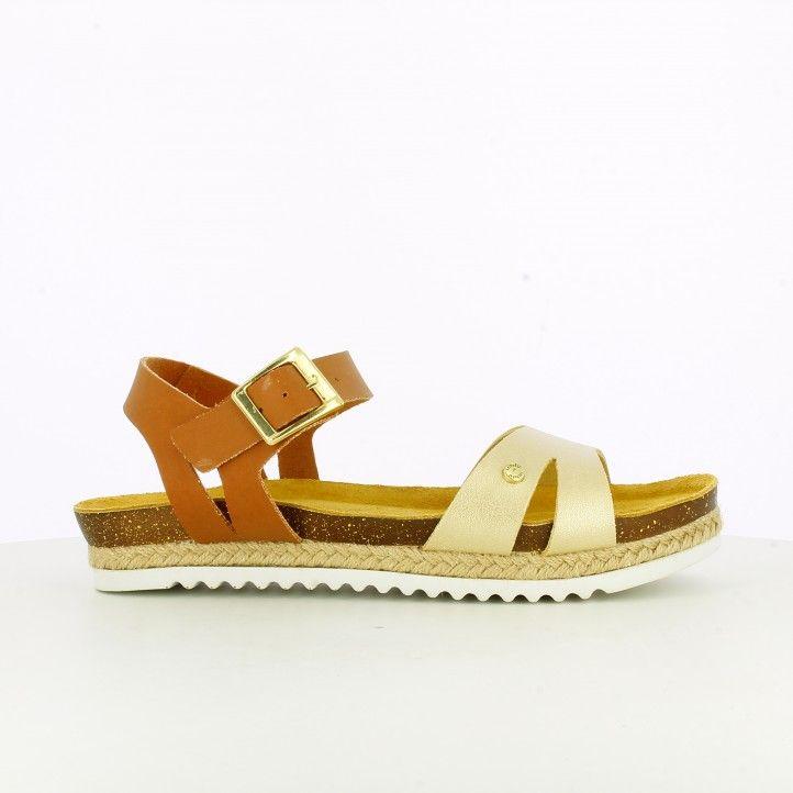 sandalias planas IN BLU bio marrones y doradas