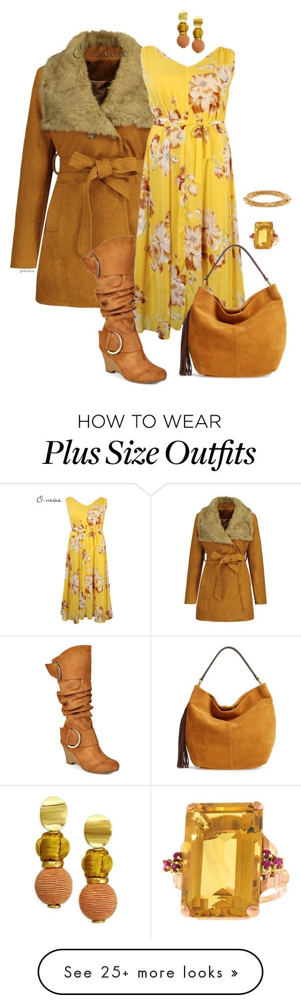 """""""Pushing spring- plus size"""" by gchamama on Polyvore featuring O-Newe, Journee Collection, HOBO, Lizzie Fortunato and Apt. 9"""