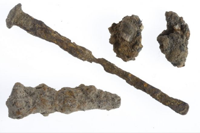 """Small piece of natural sea sponge tied on the end of a wooden stick. The stick has a loop of leather at one end. Toilet paper did not exist in Roman times so the Romans used a """"spongia"""" instead. This was a sea sponge attached to a long stick."""