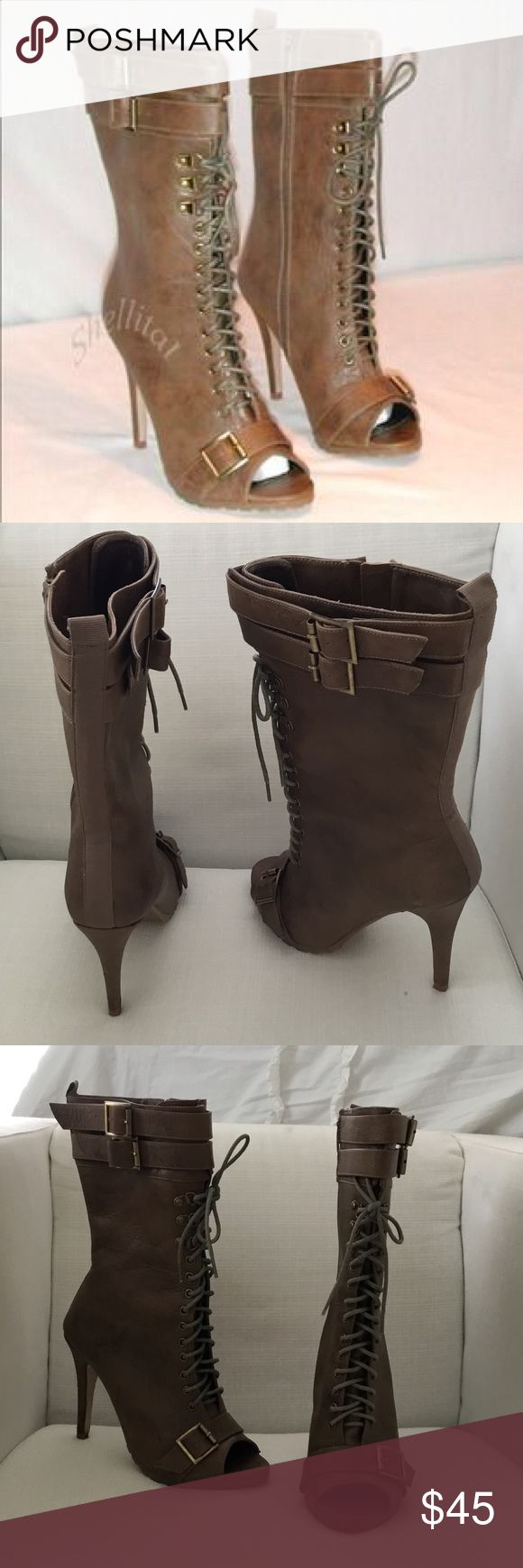 Colin Stuart Peep Toe Lace Up Boots Colin Stuart Taupe Peep Toe Lace Up Boots. Size: 7.5B Show stopper boots! Lightly worn, small imperfection as seen in last photo on the heel. 4inch heel Colin Stuart Shoes Heeled Boots