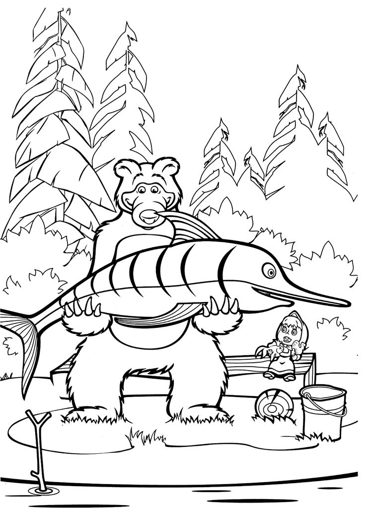 Masha and Bear fish coloring pages for kids printable free