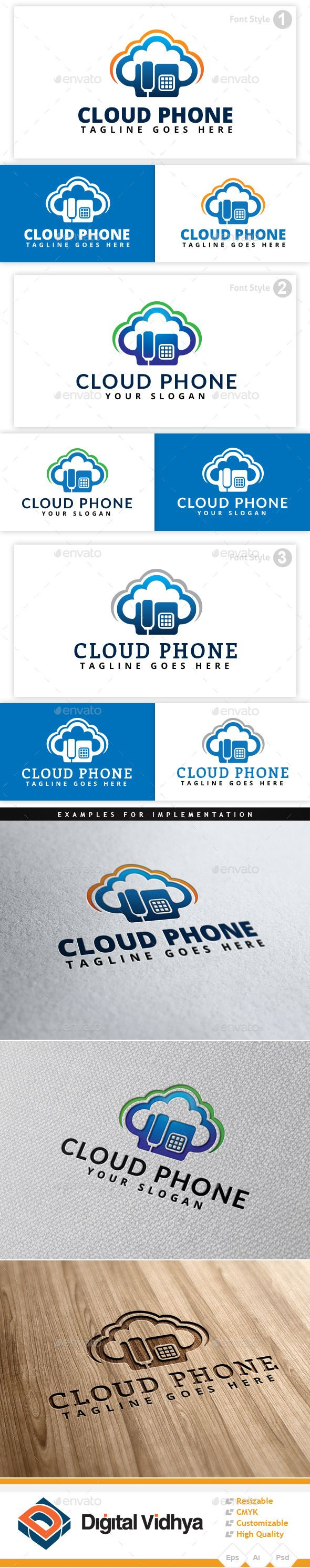 Cloud & Phone Logo — Photoshop PSD #blue #signals • Available here → https://graphicriver.net/item/cloud-phone-logo/8923055?ref=pxcr