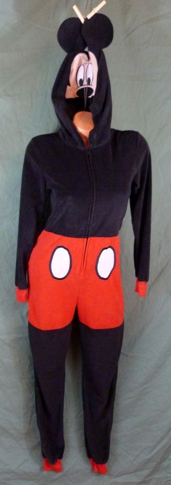 Mickey Mouse Kigurumi Pajamas Anime Cosplay Costume Adult Onepiece Sleepwear S M #Disney #Suit
