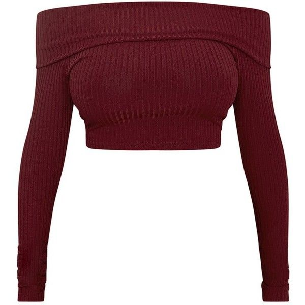 Shape Chastity Burgundy Ribbed Bardot Top ❤ liked on Polyvore featuring tops, shirts, crop top, blusas, ribbed crop top, cropped white shirt, white top, rib shirt and burgundy shirt