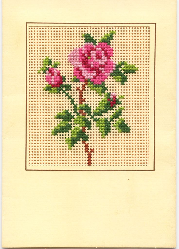 Counted Cross Stitch Rose Card