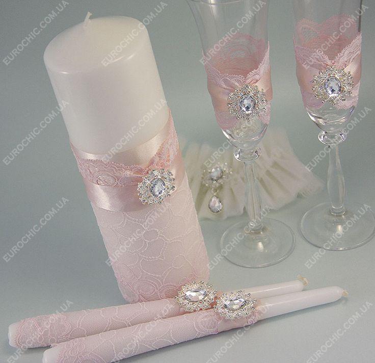 Свадебные свечи Amour пудрово-розовые - набор семейный очаг для свадьбы декор в нужном цвете  от Шик Европейский