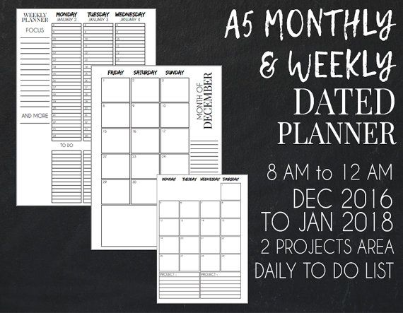 2017 A5 Monthly and Weekly Dated Planner, if you're looking for a planner last minute.