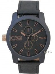 Men's Oozoo watch with 45mm case diameter made of brushed stainless steel. This watch has a black dial with rose-gold metal accents and hands, and fastens with a black stitched leather strap.