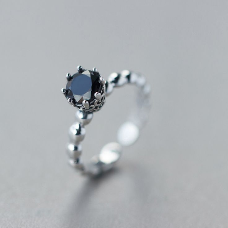 $5.48 + Free Shipping Black Single Diamond Round Ring Silver Ring