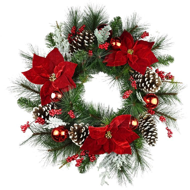 """Holiday Time 30"""" Christmas Deluxe Red Poinsettia Wreath"""