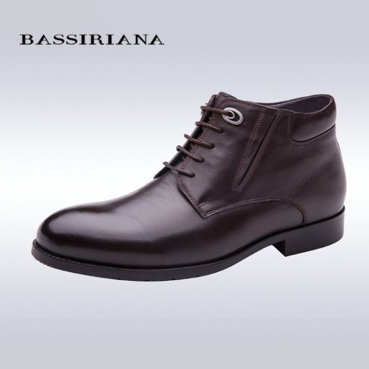 BASSIRIANA Full Grain Leather fur boots for men lace-up zip winter shoes Big size 39-45 Black Brown Color Free shippingBoots