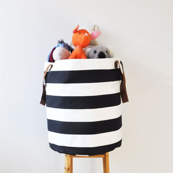 XXL, Leather Straps, Laundry Hamper, Toy Basket, Storage Bin, Supply Basket, Nursery Organizer, Black and White