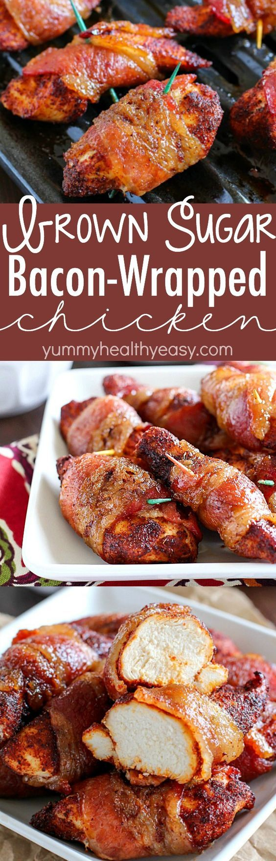 Brown Sugar Bacon Wrapped Chicken is one of my favorite dinners! Making this again tonight! You roll the chicken in spices and then wrap in bacon. Then roll in brown sugar and bake. SO easy, tender, j (Chicken Bacon Sandwich)