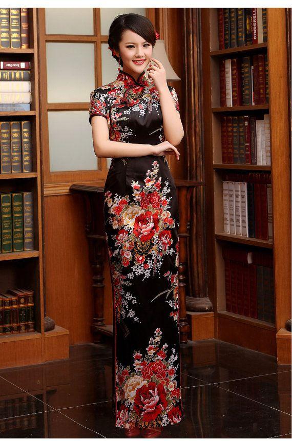 New Arrival Fashion SILKLIKE Vintage Short Sleeve Women Dress Long Design Female CHEONGSAMS