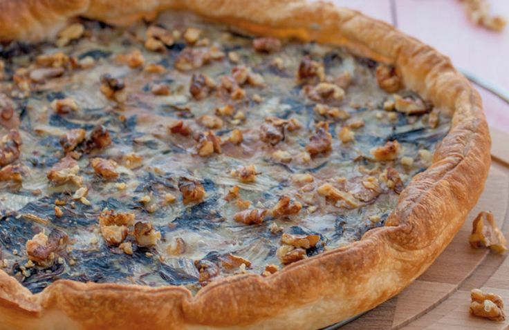 Torta con radicchio, gorgonzola, mascarpone e noci