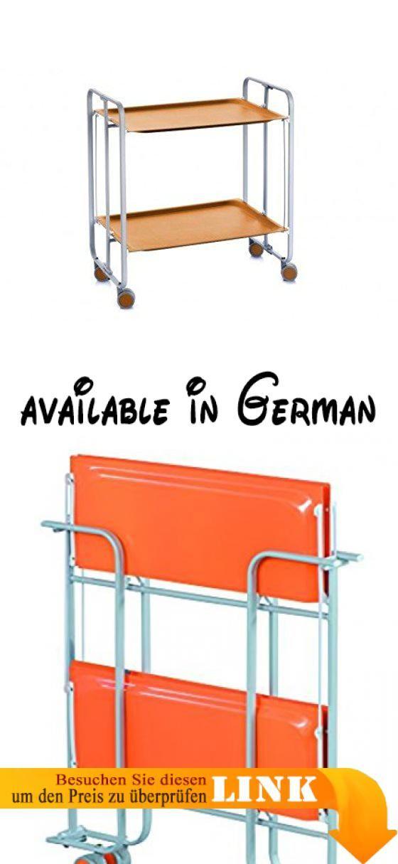 B00LGVDPI6 : Rollen und klappbarem trolley. Metallic Rahmen in Grau orange laminiert Melamin Tabletts. FUNKTIONAL Wagen für die Küche das Wohnzimmer Terrasse etc.