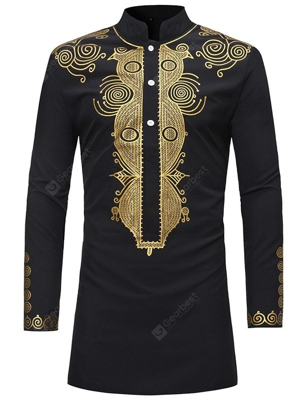 359f47e1eb0 Men Trendy Ethnic Style Print Stand Collar Long Sleeve Shirt in 2019 ...