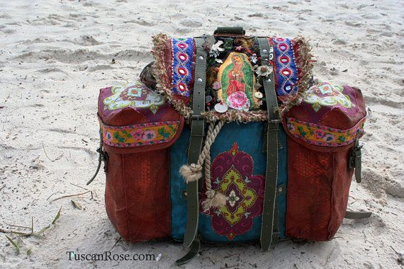 bohemian Gypsy Backpack bag - altered vintage military Urban bag - free shipping within US