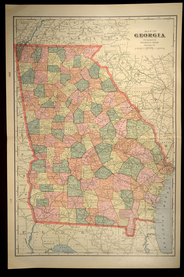 Georgia map georgia large early 1900s original state 1901 for Antique map wall mural