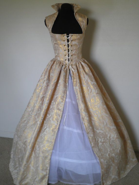 Gold Fantasy Renaissance Over Gown Dress 4 Sizes READY to SHIP. $100.00, via Etsy.