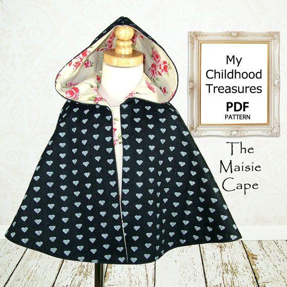 Cape pattern, Girls PDF sewing pattern, Instant Download, Costume, Jacket, Childrens pattern,