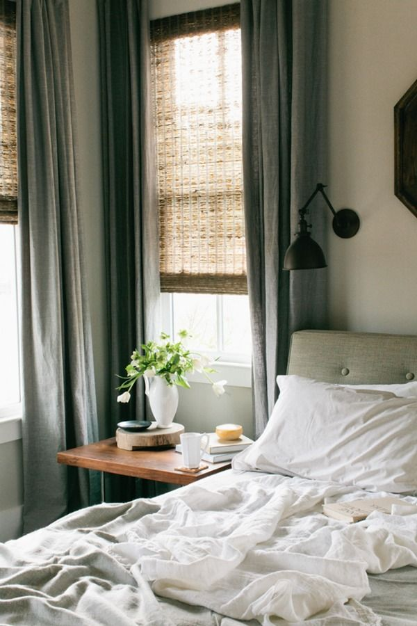 shades with curtains layered. I love layers!!! plus the all white bedding - beautiful/cozy/comfy