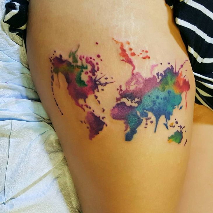 19 best tattoos images on pinterest tattoo ideas tattoo watercolor world map tattoo gumiabroncs Gallery