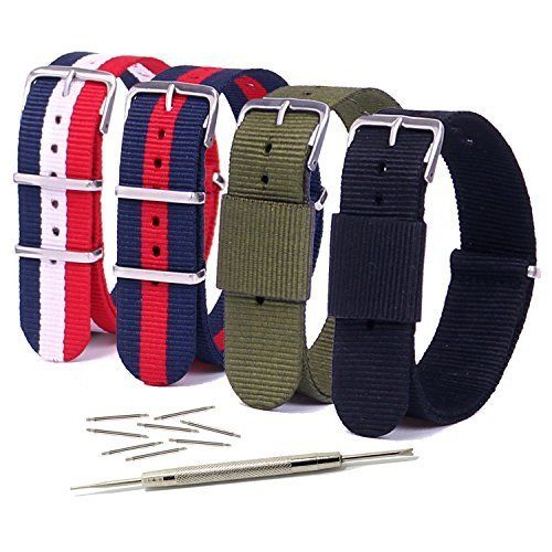 Vetoo ballistic Nylon Watch Bands -Choice of Color & Length (20mm or 22mm)-NATO StrapPack of 4