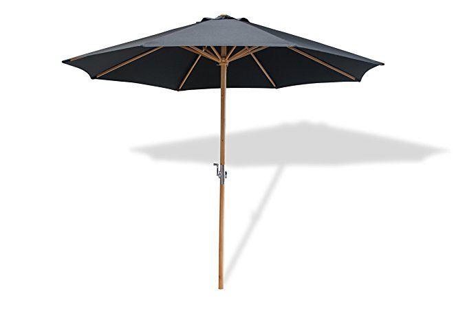 Lanterfant Sonnenschirm Lucas Gestell Holz 300 Cm Rund Bespannung Polyester Gartenschirm Schwarz Gartenschirm Sonnenschirm Schirm