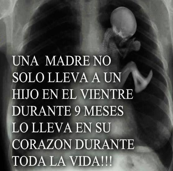 Una madre lleva a su hijo en el corazón todos los días ♥