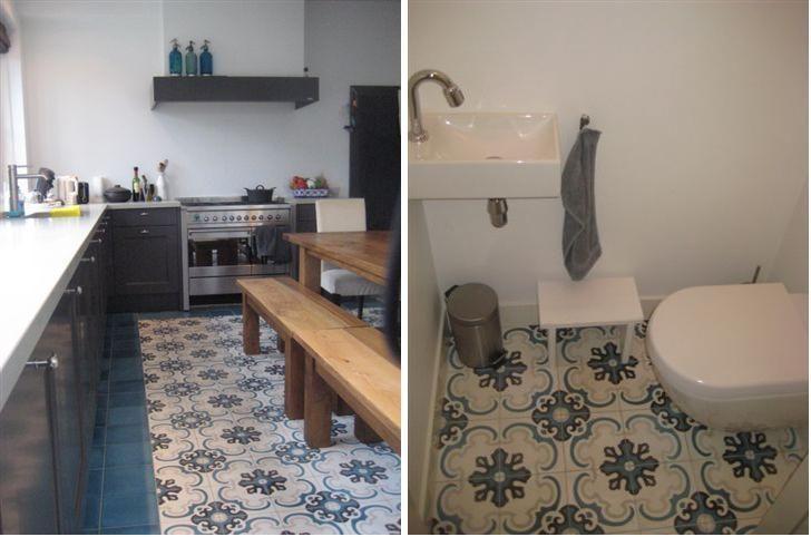 Portugese Tegelvloer Keuken : Portugese tegelvloer in keuken en toilet.