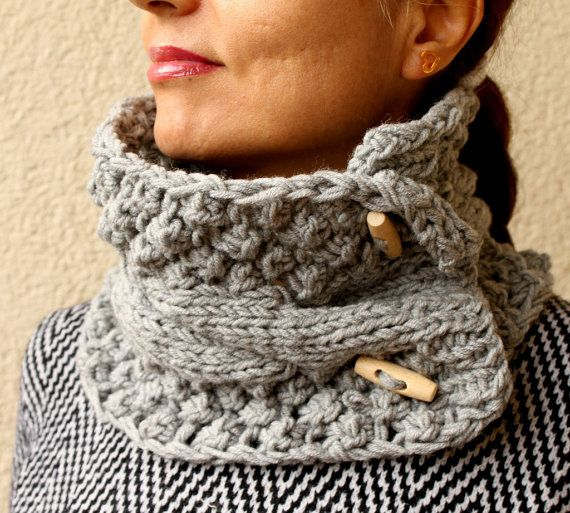 Gray Grey Scarf  Knit Cowl Cable Chunky Neck Warmer by warmandsoft