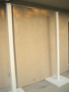 wooden posts easier to put together vs the pvs pipes?   and i think that\'s just a curtain rod or something across the top.        The frame for photobooth backdrop