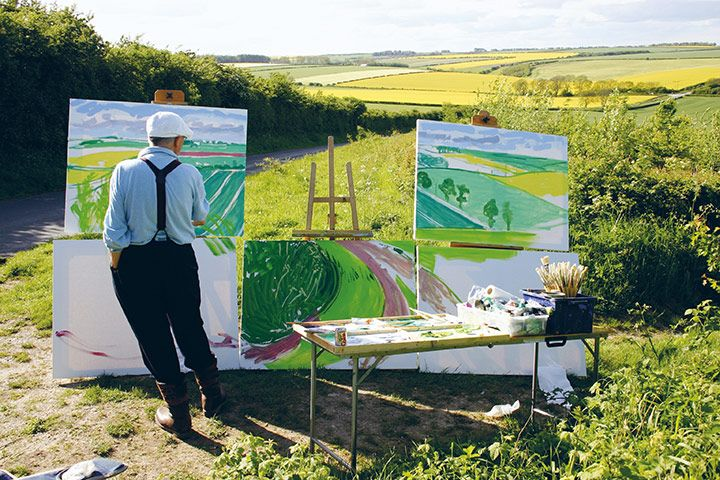 "David Hockney painting ""The Road to Thwing, Late Spring"", May 2006"