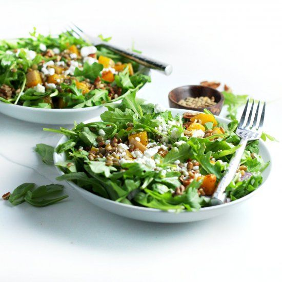 Spiced Butternut Squash, Lentil and Goat Cheese Salad
