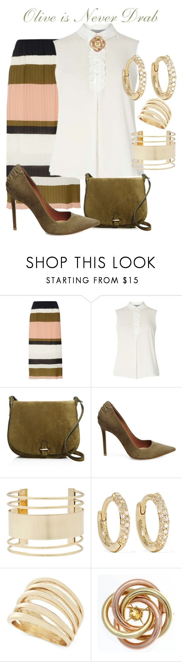 """""""Olive is Never Drab"""" by sommer-reign ❤ liked on Polyvore featuring Dorothy Perkins, Céline Lefébure, Steve Madden, Eloquii, Jennifer Meyer Jewelry, BCBGeneration and Tiffany & Co."""