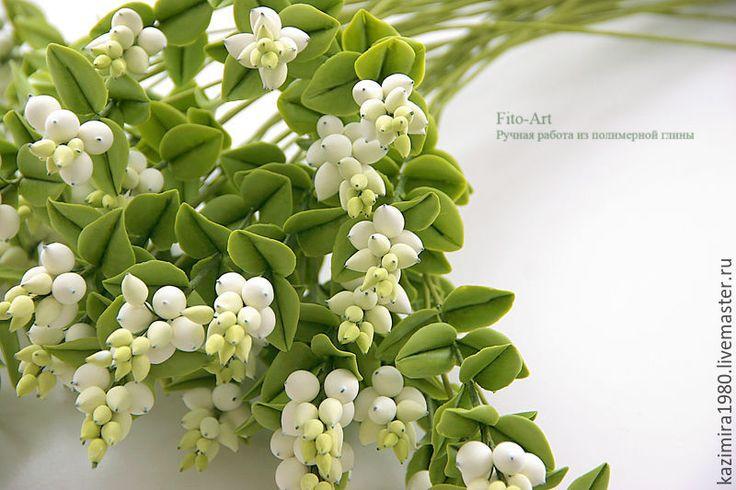 Polymer clay berries, handmade. Купить Снежная ягода из полимерной глины - салатовый, зеленый, белый, ягода, весна, для букета, для декора