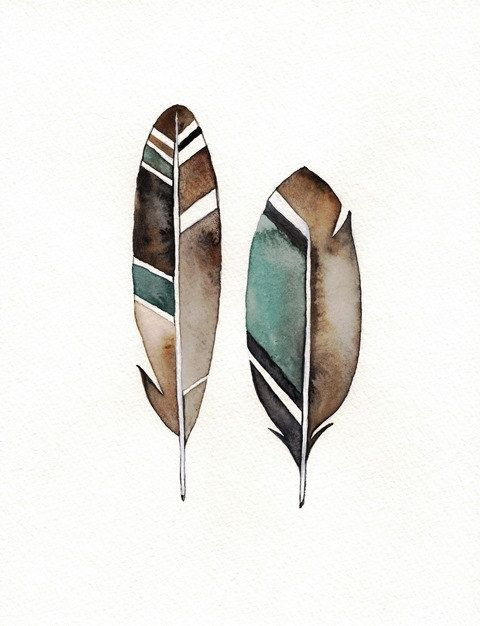 No. 7 Feather / Black Teal Grey  Watercolor Print by kellybermudez, $20.00