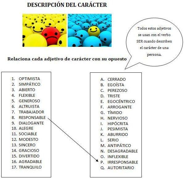 A1/B1 - Adjetivos para describir el carácter de una persona. Antónimos