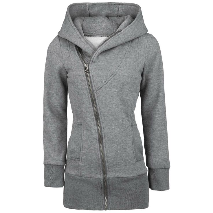 Extra long hooded zip with asymmetrical zipper, broed cuffs, two slide-in pockets and big hood