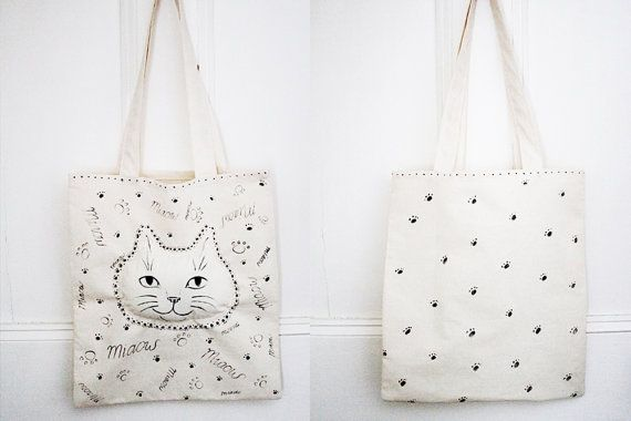 Miaow Cat Face Canvas Tote Bag Hand Painted €17.00 one of a kind, hand-painted