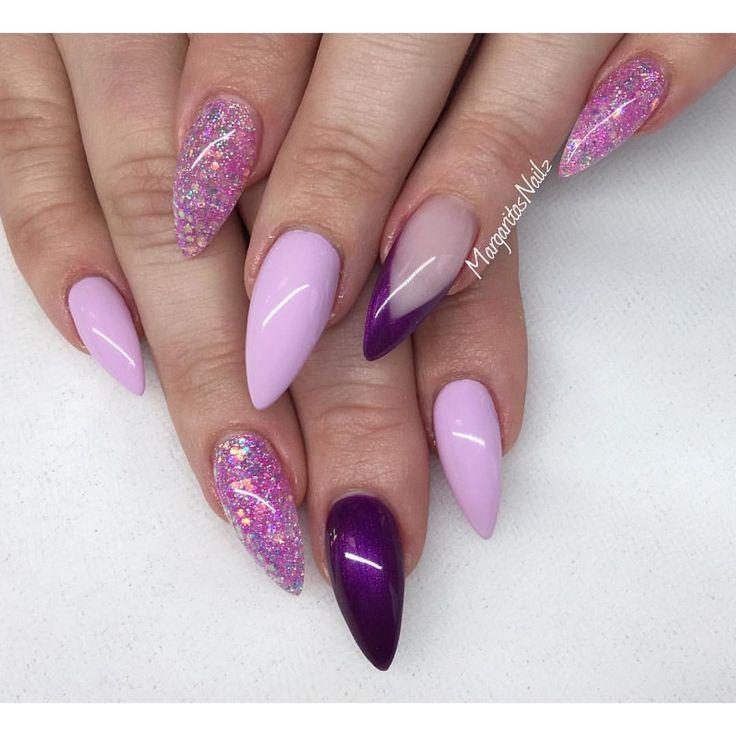 Purple and lavender stiletto nails