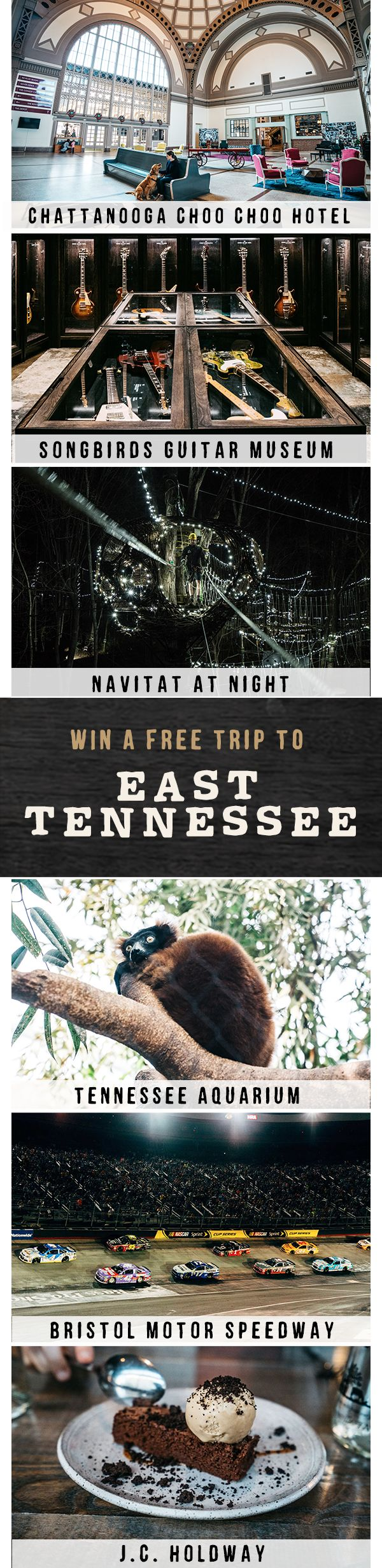 We're giving away a free trip to Tennessee. Simply match all the same amazing spots in this pin at TNVacation.com, and you'll be entered for a chance to win!