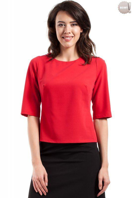 Gładka bluzka damska z krótkimi rękawami, zapinana z tyłu na kryty zamek błyskawiczny. #bluzka #damska  #kobieta #moda #trendy  #czerwień