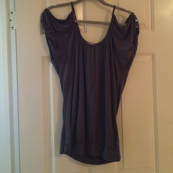 Cold shoulder shirt Like new cold shoulder shirt with jewels on arm. 100% rayon and falls nicely on. Dark gray. Tops Blouses