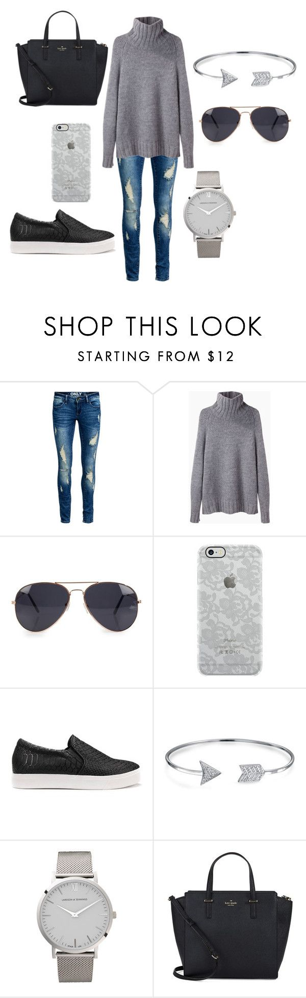 Greyscale by amanda-j-burke on Polyvore featuring La Garçonne Moderne, ONLY, Kate Spade, Larsson & Jennings, Bling Jewelry, Uncommon and NLY Accessories
