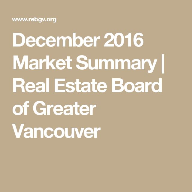 December 2016 Market Summary | Real Estate Board of Greater Vancouver